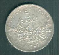 Piece Argent Silver, 5 Francs Type  Semeuse Année 1963   -  PIA10903 - France