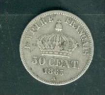 Piece Argent Silver, Napoléon III 50 Centimes 1865 A Paris Tête Laurée    -  PIA10908 - Francia