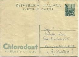 ITALIA REPUBBLICA CARTOLINA POSTALE INTERO ITALY REPUBLIC POSTCARD 1951 CHLORODONT LIRE 20 NUOVA UNUSED - 6. 1946-.. Repubblica