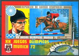 Guinea Equatorial 1972 Olympic Games Munich Medal Horse Race Bl. S/S MNH - Equatorial Guinea