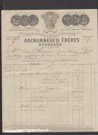 33 - Bordeaux - Archambeaud Frères - Liqueurs Bitters Cognacs Rhums - 1918 - Frankreich
