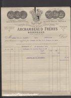 33 - Bordeaux - Archambeaud Frères - Liqueurs Bitters Cognacs Rhums - 1915 - Frankreich