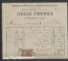 16 - Cognac - Celle Frères - Fabrique De Bouchons & Entrepot De Lièges - 1886 - France