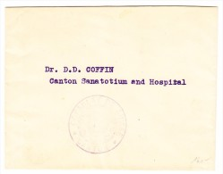 China Amts Brief Consulat De Suisse Canton In Das Sanatorium Spital Gesendet - 1912-1949 République