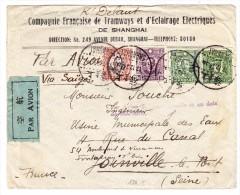 China Luftpost Brief Von Shanghai Nach Joinville Frankreich Weitergeleitet Nach Fontenay - 1912-1949 République