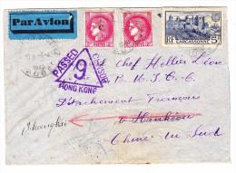 China Luftpost Brief Aus Frankreich  Nach Hankou Weitergeleitet Nach Shanghai Hong-Kong Zensur Transit Und AK Stempeln - 1912-1949 République
