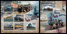 MOZAMBIQUE 2012 - Union Pacific, Trains - YT 5143-8 + BF633; CV = 38 € - Trains