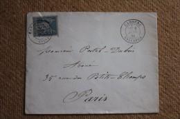 Enveloppe Pour Paris Affranchissement Type Sage Oblitération Type18 Cabourg Calvados 13 - 1877-1920: Semi-Moderne