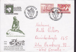 Denmark KØBENHAVN K Diligencepost 1984 Cover Brief To HAMBURG Germany Weltpostkongress Mermaid Meeresfrau Cachet - Denemarken