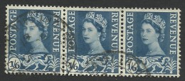 Wales, 1 S. 6 P. 1967, Sc # 6, Mi # 6, Used Strip Of 3 - Regionali