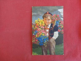Young Boy With Flowers  Mailed From Yugosavia---------       ----------ref 1759 - Europe