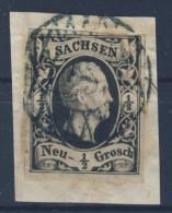 Sachsen Michel No. 3 a gestempelt used Nummerngitterstempel