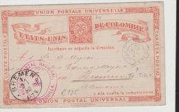 Col084/ P 3a, Barranquiila 1881 Nach Bremen. Franz. Bahnpost Stempel - Kolumbien
