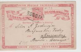 Col085/ P 1b 1882, Nach Bayern, Bogota Stempelvim Oval - Kolumbien