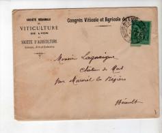 Enveloppe - CAD Le Bois D´Oingt 69 + Murviel - Sage 5c Vert - Société Viticole De Lyon /Lagarrigue - 1894 - Marcophilie (Lettres)