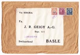 China Lot Von 2 A5 Briefe Von China Shanghai Nach Basel J.R.Geigy A.-G. (1 Einschreiben) - Chine