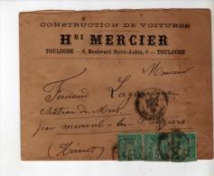 Enveloppe - CAD Toulouse + Béziers + Murviel - Sage 5c Vert - Mercier Constrcution De Voitures/Lagarrigue - 1886 - Marcophilie (Lettres)