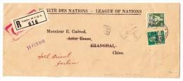 """China Shanghai Aus Genf """"Société Des Nations"""" 14.1.1931 Weitergeleiteter Brief Nach Harbin - Chine"""