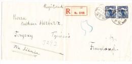 China R-Brief Harbin 2.8.1928 Nach Finnland Mit Ak-Stempel - Chine