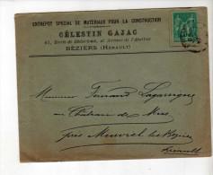 Enveloppe - CAD Béziers + Murviel - Sage 5c Vert - Gajac, Entrepôt/Lagarrigue - 1890 - Marcophilie (Lettres)