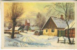 Unknown Postcard, Glaedelig Jul (Village Scene Artist Signed Chr Berendsen?) 1953 - Noël