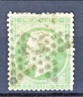 Francia 1862 Y&T N. 20 Napoleone III C. 5 Verde Annullo  Grosse Cifre 4133 Ventavon, Hautes Alpes - 1862 Napoleon III