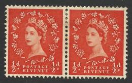 Great Britain, 1/2 P. 1953, Sc # 292, Mi # 257X, MH Pair - 1952-.... (Elizabeth II)