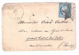 Lettre De DOURDAN, Seine Et Oise Convoyeur Station + ETOILE MUETTE De Paris Sur CERES N° 60 VARIETE Taches Blanches, TB - 1849-1876: Période Classique