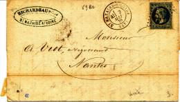 France 1870 (n°29 T.2 S/lettre  GC  3781  S.t.NAZAIRE S/Loire ) - 1863-1870 Napoleone III Con Gli Allori