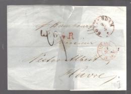 PAYS BAS 1856  Marque Postale Taxée De Rotterdam Pour La France - 1852-1890 (Wilhelm III.)