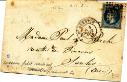 France 1869  ( N°29 T.2 S/lettre  - GC  3827  StQUENTIN + Variété ) - 1863-1870 Napoleone III Con Gli Allori