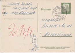 Bund Bed Dt Gzs P 60 PSt I Stempel Harsdorf ü Bayreuth 1961 - Cartoline - Usati