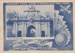 15907- ALBA IULIA FORTRESS GATE, SHIP, PLANE, TRAIN, CAR, POSTCARD STATIONERY, 1967, ROMANIA - Interi Postali