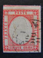 """ITALIA Antichi Stati Napoli -1861- """"Effigie In Rilievo"""" Gr. 5 US° (descrizione) - Naples"""