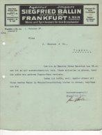Frankfurt - Siegried Ballin - Wein Und Spirituosen Den Grosshandel - 1927 - 1900 – 1949