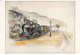 Lot De 13 Cp- Illustrateur P. Perreard- Trains / Zug / Tren / Treno / Trein-ferrographie De N°1 A N°13 - Trenes