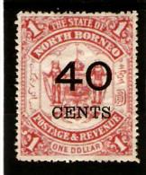 NORTH BORNEO 1895 40c On $1 SG 91 MOUNTED MINT Cat £60 - Nordborneo (...-1963)