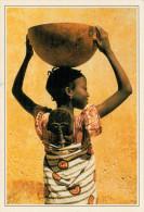 SENEGAL  GOREE   FANCIULLA CON RECIPIENTE DI ZUCCA     (NUOVA CON DESCRIZIONE DEL SITO SUL RETRO) - Senegal