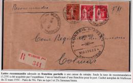 Lettre Recommandée En Franchise Partielle Avec Paix (283) Et Semeuse (235) - Poststempel (Briefe)