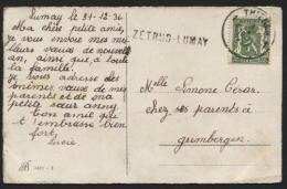 Griffe D'origine ZETRUD-LUMAY + Obl. THIENEN S/ Carte Postale Vers Grimbergen 1937 (749). TB - Poststempel