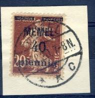 ##K1175. Memel 1920. Surprinted French Stamp. Michel 22. Used On Fragment. - Memel (1920-1924)