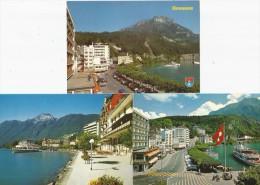 BRUNNEN SZ Quai Fronalpstock Schiff 3 Karten - SZ Schwyz