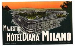 """Etiquette Label Hotel """"Majestic Diana"""" Milano, Italie - Hotelaufkleber"""