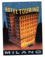 """Etiquette Label Hotel """"Touring"""" Milano, Italie - Hotelaufkleber"""
