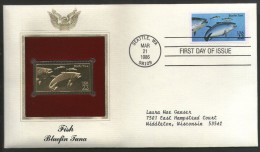 USA 1986 Fish Bluefin Tuna Marine Life Animal Gold Replica Cover Sc 2208 # 061 - Marine Life
