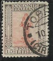 LIBIA 1926 - 1930 PITTORICA CENT. 15 CENTESIMI DENT. PERF 11 USATO USED OBLITERE´ - Libia