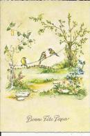 Carte Legerement Glacée De Bonne Fete Papa Neuve ( Fleurs-et Oiseaux Sur Un Fil-De Bonne Fete Papa En Dorure) - Wensen En Feesten