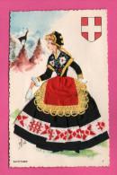 Carte Brodée Avec Ajoutis De Tissus - Savoyarde - CAP - EFSE - Brodées