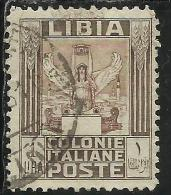 LIBIA 1926 - 1930 PITTORICA LIRE 1 LIRA DENT. PERF. 11 USATO USED OBLITERE´ - Libya