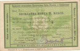 1920 Drzavna Zeleznica Kraljevstva SHS, Besplatna Karta II.klase, RAILWAY  Old FREE PASSENGER TICKET 2ND CLASS - Week-en Maandabonnementen